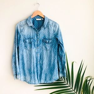 Hinge Polka Dot Chambray Snap Down Shirt Blue S